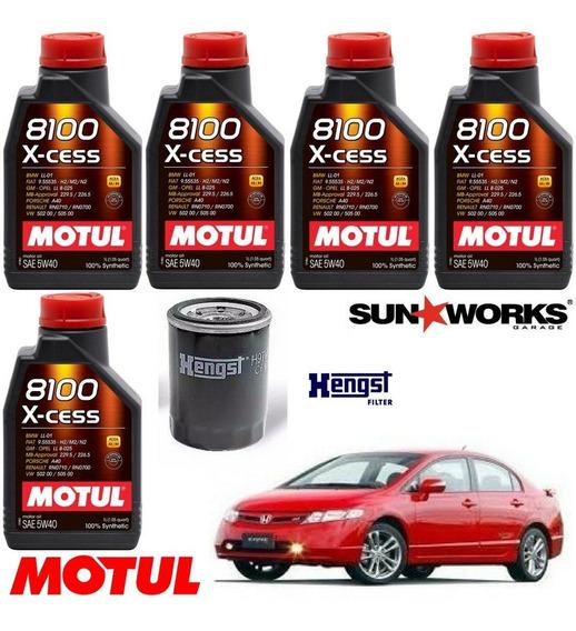 Kit Troca Óleo Motul 8100 5w40 Honda Civic Si 2.0 2007 A 11