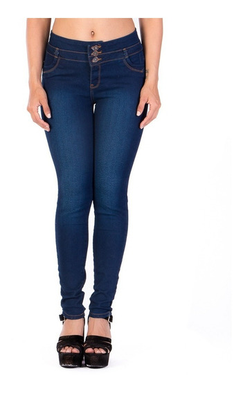 Jeans Azul Tres Botones Frente, Pretina Ancha Con Fracciones
