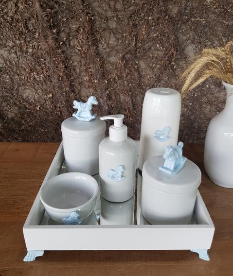 Kit Higiene Porcelana Apliques Azul Vários Temas Térmica