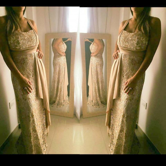 Vestido De Gala Un Hombro Encaje Brillo Madrina Moda Pasion
