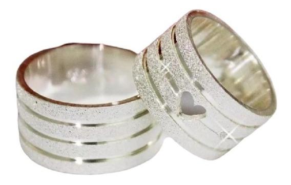 Par Alianças Prata 950 10mm Coração Vazado Diamantadas