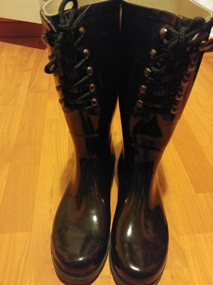 Botas Negra De Lluvia Con Cordones Talle 40