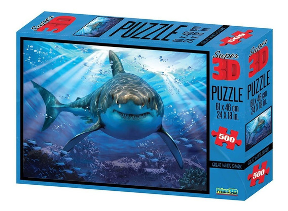 Quebra Cabeça Multikids 3d Tubarão Com 500 Peças - Br1054