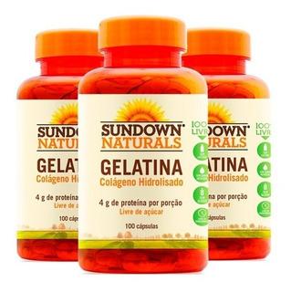 Gelatina Colágeno Hidrolisado - 3x 100 Cápsulas - Sundown