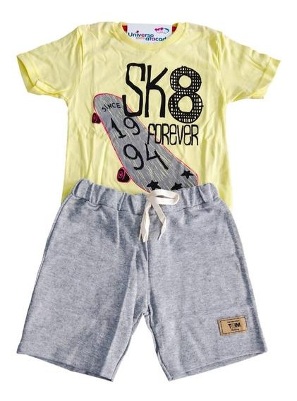 Conjunto Moletom Masculino Infantil Menino Verão Kit Com 05