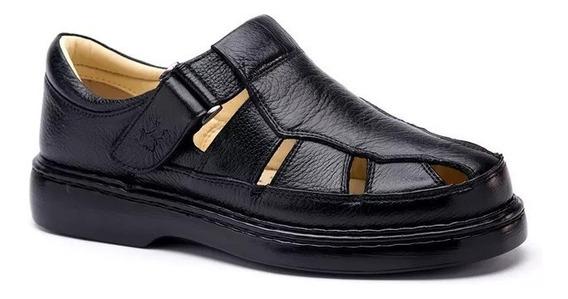 Sandália Masculina 320 Em Couro Floater Preto Doctor Shoes