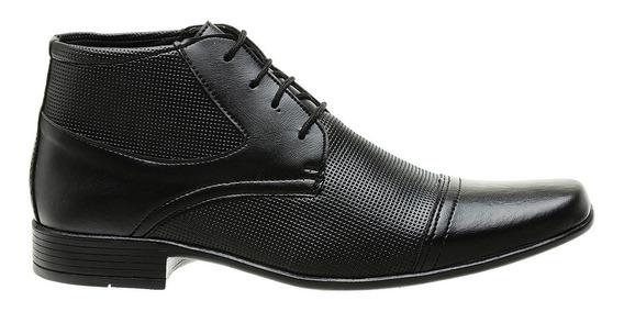 Bota Sapato Social Masculino Couro Sintetico Preto D Luxo