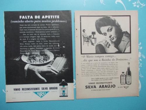 Propaganda Vintage. (kit De2) Vinho Silva Araújo Reconstitui