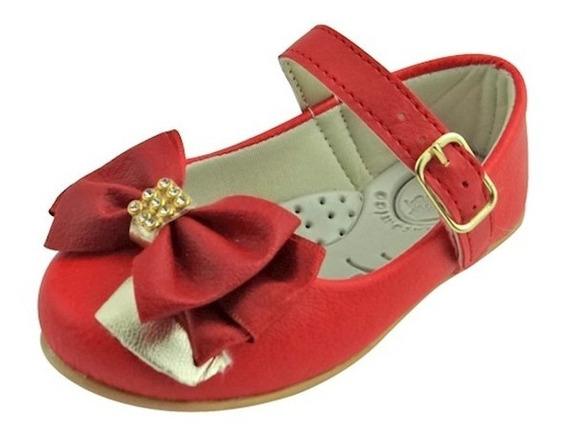 Sapato Boneca Baby Com Laço E Strass - Vermelho