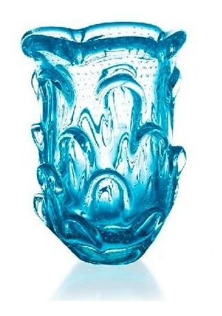 Mini Vaso De Murano Com Bolhas Azul