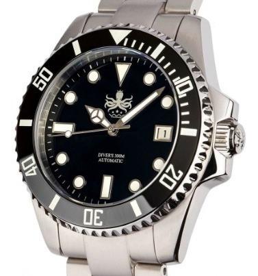Relógio Phoibos Diver Preto Automático Cerâmico Submariner