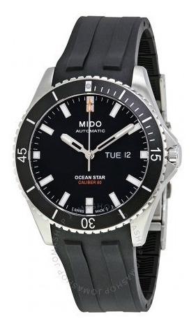 Relógio Automático Mido Ocean Star Preto Borracha Diver