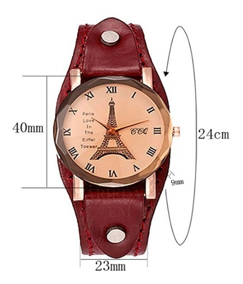 Relógio Feminino Bracelete 100% Pulseira De Couro
