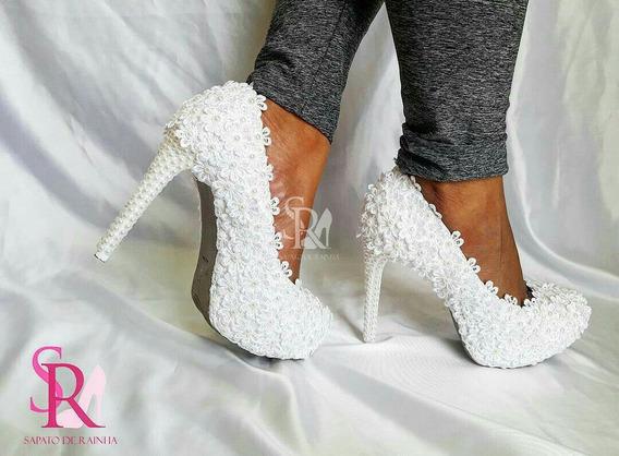 Sapato De Noiva Branco Com Flores E Perolas