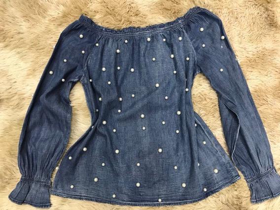 Blusa Jeans Ciganinha Feminina Pedrinha Lançamento Importar