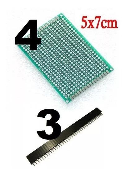 Lote 4 Placa Fenolite Perfurada 5x7 Pcb + 3 Barra Pino Femea