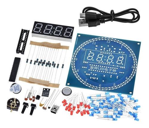 Kit Reloj Led Animado Giratorio Alarma Muestra Temperatura