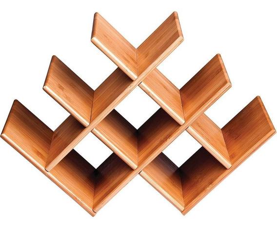 Mesa Adega Rack Vinho Estante Promoção Decoração Bambu Casa