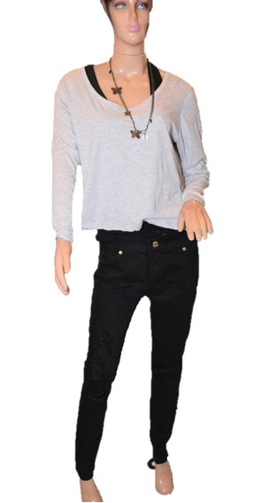 Rosh Pantalon De Jean Modelo Moon Negro Con Rotura