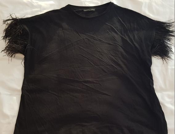 Remera Zara Negra Pelos - Talle S