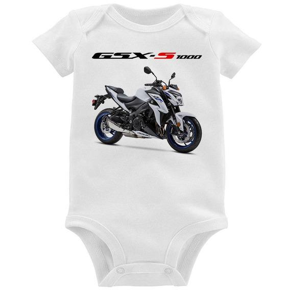 Body Bebê Moto Suzuki Gsx S 1000 Branca 2019