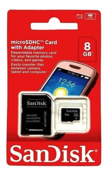 Cartão De Memória Micro Sd Sandisk 8gb + Adaptador Lacrado