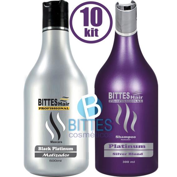 10 Kit Bittes Hair Silver Platinum Shampoo E Máscara Atacado