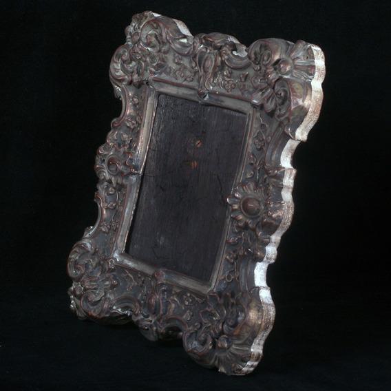 Antigo Porta Retratos Em Madeira E Metal - Lindo!