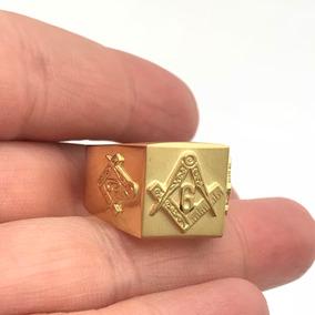 Maçon Esquadro Ouro 18k Mestre Aprendiz Masculino Compasso