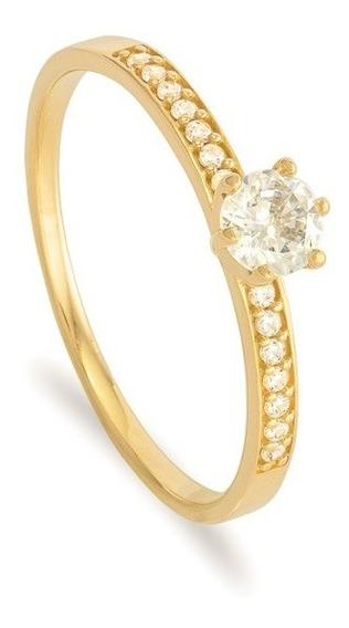 Anel Ouro 18k Solitário Noivado Feminino E Diamantes