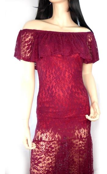Vestido Largo De Encaje Rojo