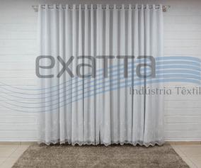 Cortina Voil Bordado Com Forro Embutido Tamanho Sb Meidas
