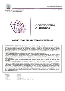 Codigo Penal Del Estado De Morelos