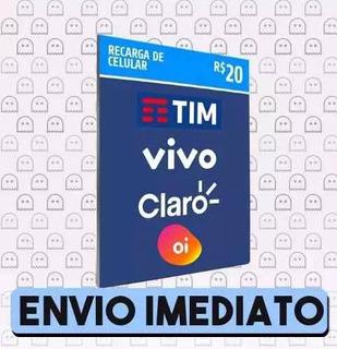 Recarga De Celular Crédito Online Claro Tim Vivo R$ 20,00