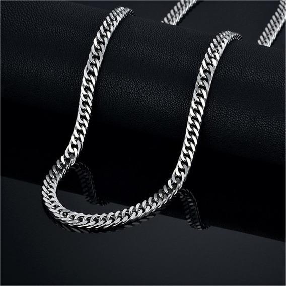 Corrente Masculina Luxo Em Aço Inoxidável Prata