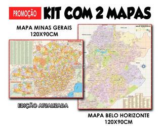 Kit 2 Mapa Estado Minas Gerais E Município Belo Horizonte