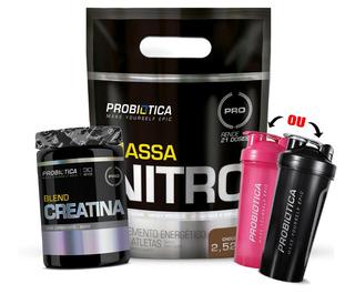 Mass Nitro Pouch 2520g + Creatina 420g + Brinde - Probiótica