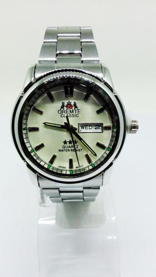 Relógio Orimet Masculino Calendário Fundo Branco
