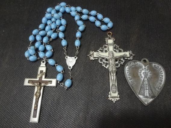 Terço , Crucifixo E Pingente De N.s. Aparecida Antigo