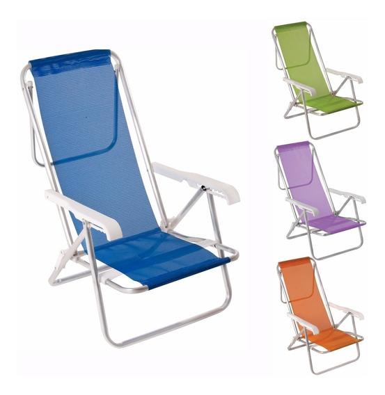Kit 6 Cadeira Praia Aluminio Reclinavel 8 Posicoes - Mor