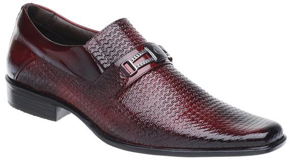 Sapato Social Malbork Em Couro Verniz Dark Red