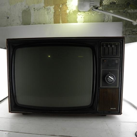 Tv Antiga Philips Madeira Decoração C/ Defeito