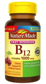 Vitamina B12 1000mcg Nature Made Sabor Cereja 60 Capsulas