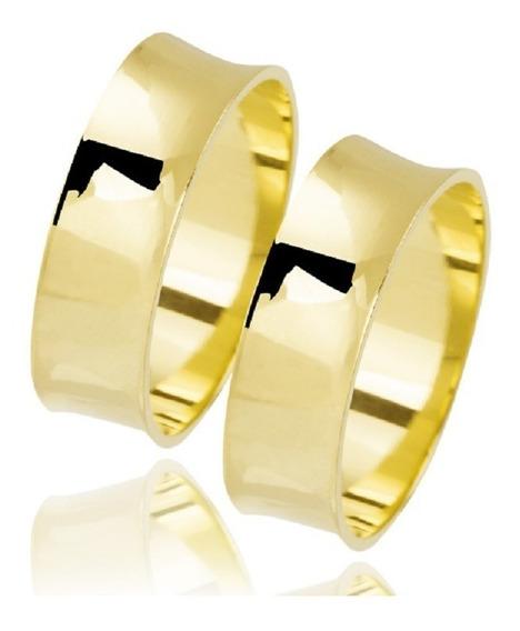 Par Alianças 10 Grs Ouro 18k 6mm Concavas Casamento Noivados