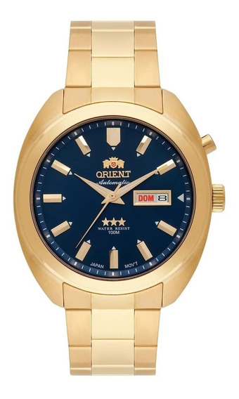 Relógio Orient Dourado Com Fundo Azul Escuro Automático