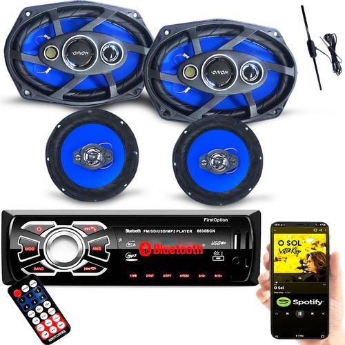 Imagem 1 de 10 de Kit Falantes 1 Par 6 1 Par De 6x9 + Radio Bluetooth Antena