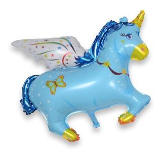 Globo Unicornio Metalizado Azul X 12 Unidades