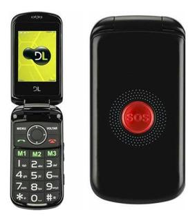 Telefone De Flip Idosos + Botão Sos Dl 130 2chips Fm Mp3