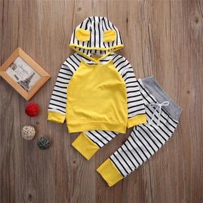 Roupa Bebê Conjunto Com Capuz Ursinho Amarelo E Listrado