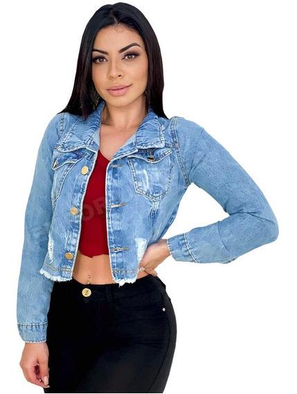 Jaqueta Jeans Feminina Curta Cropped Destroyed Tendência